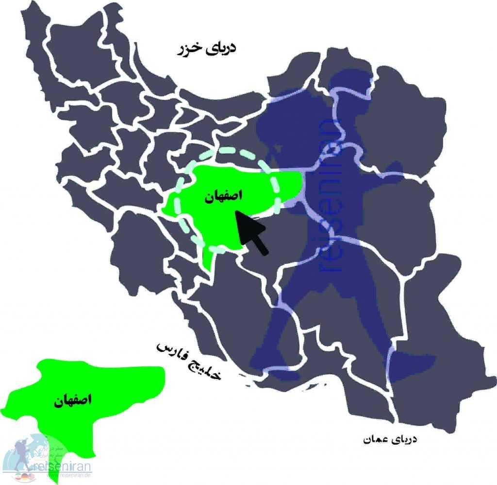 استان اصفهان در نقشه ایران