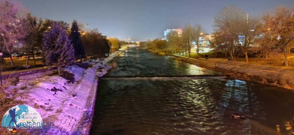 رودخانه شهرچای در شب