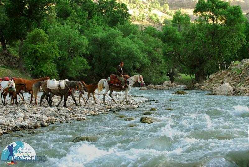 عبور عشایر بختیاری از رودخانه