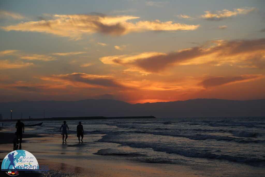 غروب ساحل انزلی